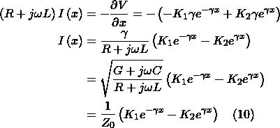 \begin{align*} \left(R+j\omega L\right)I\left(x\right)&=-\frac{\partial V}{\partial x}=-\left(-K_1\gamma e^{-\gamma x}+K_2\gamma e^{\gamma x}\right)\\ I\left(x\right)&=\frac{\gamma}{R+j\omega L}\left(K_1 e^{-\gamma x}-K_2 e^{\gamma x}\right)\\ &=\sqrt{\frac{G+j\omega C}{R+j\omega L}}\left(K_1 e^{-\gamma x}-K_2 e^{\gamma x}\right) \\ &=\frac{1}{Z_0}\left(K_1 e^{-\gamma x}-K_2 e^{\gamma x}\right) ~~~\eqno(10) \end{align*}