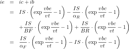 \begin{eqnarray*} ie &=& ic+ib\\ &=& IS\cdot\left(\exp\frac{vbe}{vt}-1\right)-\frac{IS}{\alpha_R}\cdot\left(\exp\frac{vbc}{vt}-1\right)\\ & &+\frac{IS}{BF}\cdot\left(\exp{\frac{vbe}{vt}}-1\right)+\frac{IS}{BR}\cdot\left(\exp\frac{vbc}{vt}-1\right)\\ &=& \frac{IS}{\alpha_F}\cdot\left(\exp\frac{vbe}{vt}-1\right)-IS\cdot\left(\exp\frac{vbc}{vt}-1\right) \end{eqnarray*}
