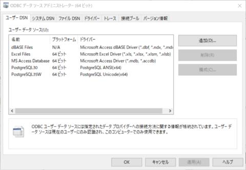 ODBC データ ソース (64 ビット)