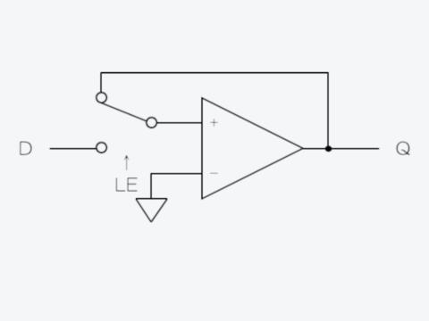 選択スイッチ付きコンパレータとして表したDラッチ