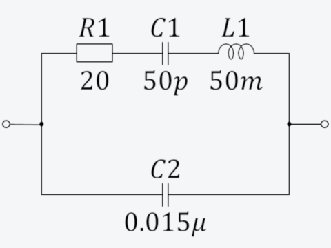 100kHzの水晶振動子の等価回路