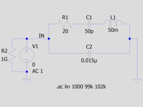 水晶振動子の等価回路
